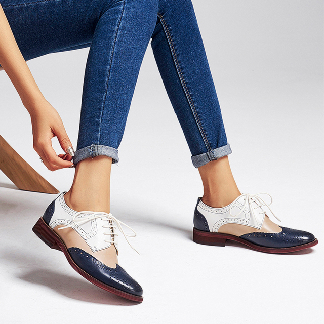 Yinzo Womens Flats Oxford Shoes Woman Genuine Leather Sneakers Ladies Brogues Vintage Casual Shoes Shoes For Women Footwear