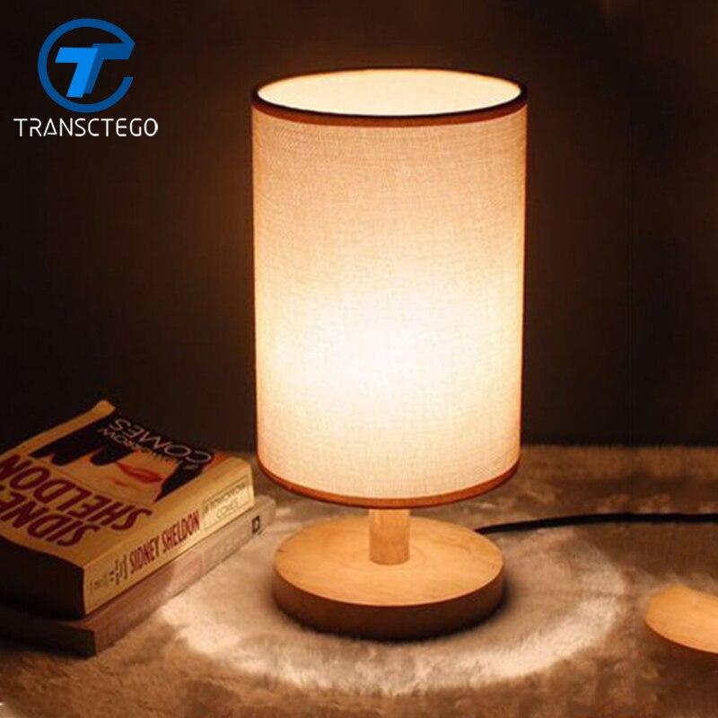 TRANSCTEGO Night Lamp Simple modern fashion bedroom bedside decorative lamp study living room solid wood originality desk lamp
