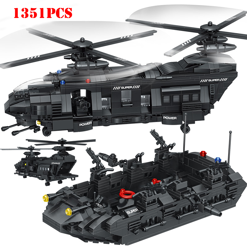 Military Swat Team Special Police Force Transport Helicopter Building Blocks Compatible Legoings City Army Bricks Toys For Child-in Blocks from Toys & Hobbies    1