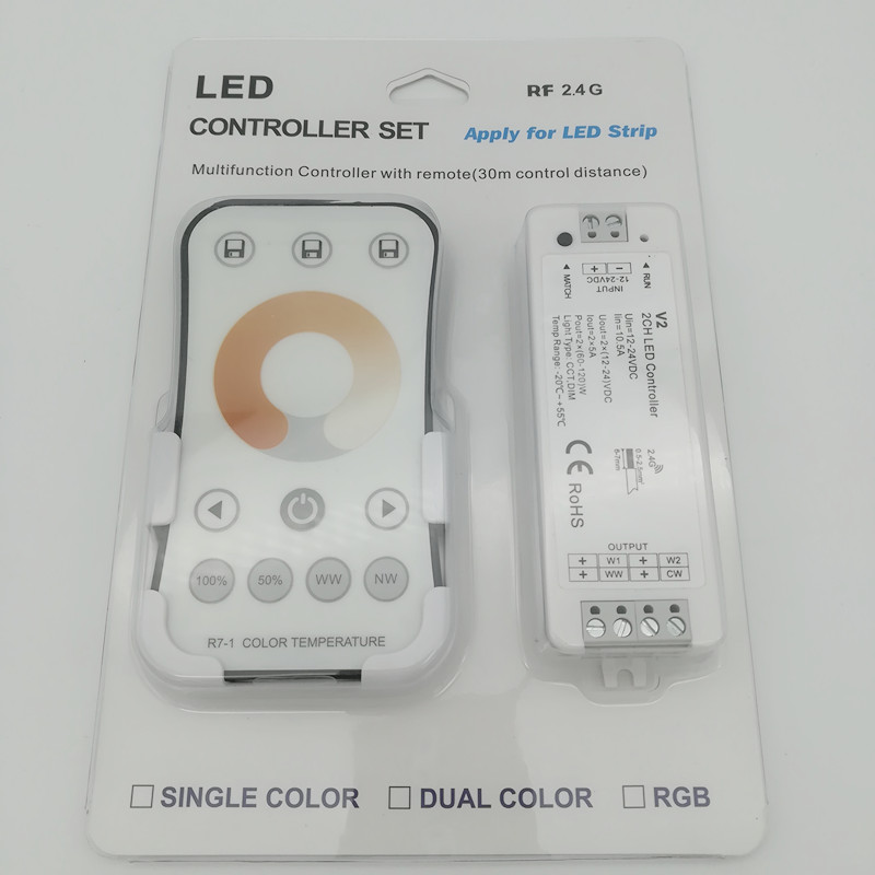 Rgb-controller Beleuchtung Zubehör R7-1 2,4 Ghz Wireless Rf Farbe Temperatur Led Controller 2ch Rf Dimmer Für Dual Farbe Led Streifen Band Band SchöN Neue V2