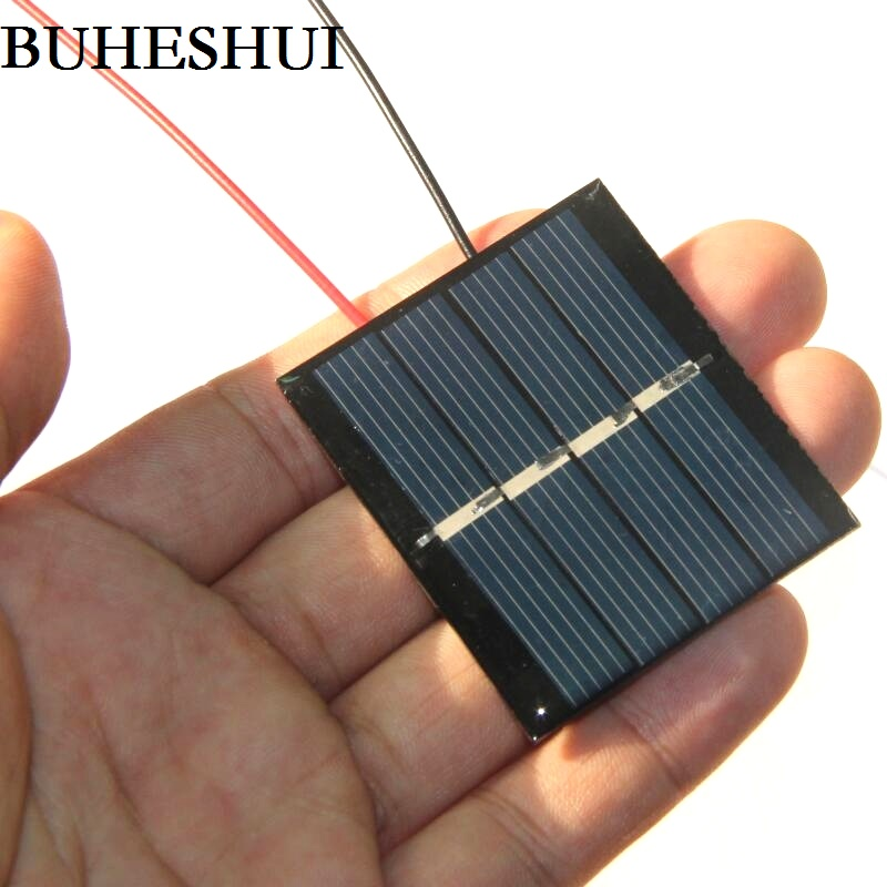BUHESHUI 0.36W 2V Solar Cell Polycrystalline Solar Panel Module+Cable DIY Solar Charger For 1.2V Battery Study Epoxy 10pcs/lot