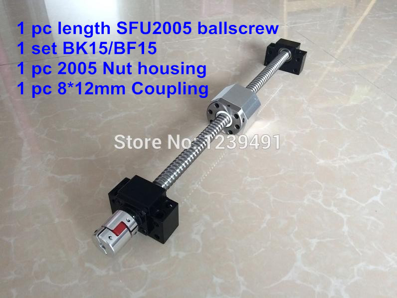 SFU2005 300 350 400 450 500 550 600 650 700 800 900 1000mm ballscrew + BK/BF15 + Nut housing + 8*12 Coupler CNC partsSFU2005 300 350 400 450 500 550 600 650 700 800 900 1000mm ballscrew + BK/BF15 + Nut housing + 8*12 Coupler CNC parts