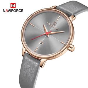 Image 1 - NAVIFORCE Women Watches Top Luxury Brand Quartz Watch Lady Fashion Leather Clock Waterproof Date Girl Wristwatch Gift for Wife