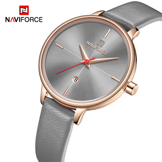 NAVIFORCE Women Watches Top Luxury Brand Quartz Watch Lady Fashion Leather Clock Waterproof Date Girl Wristwatch Gift for Wife