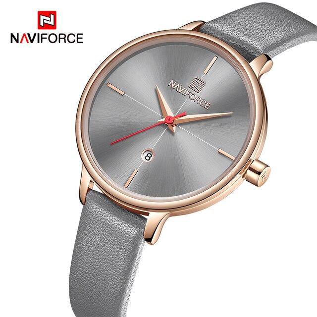 NAVIFORCE zegarki damskie Top Luxury Brand zegarek kwarcowy Lady Fashion zegarek ze skórzanym paskiem wodoodporny data dziewczyna zegarek prezent dla żony