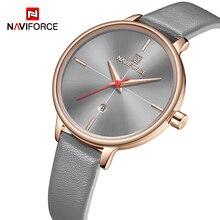 ساعات نسائية من NAVIFORCE ساعة كوارتز ذات علامة تجارية فاخرة ساعة من الجلد مناسبة للسيدات ومناسبة كهدية للزوجة