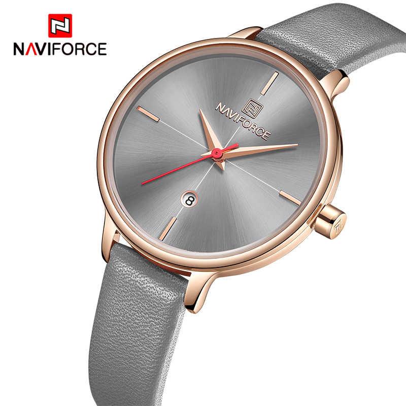NAVIFORCE נשים שעונים למעלה מותג יוקרה קוורץ שעון גברת אופנה עור שעון עמיד למים תאריך שעוני יד ילדה מתנה לאישה