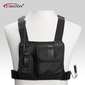 Image 1 - Nova walkie talkie bolso no peito pacote mochila Saco Titular aparelho de rádio para CP040 BF UV 5R 888 S rádios em dois sentidos GP340 carry case