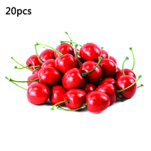20PCS/lot Mini Fake Plastic Fruit Small Berries Artificial Flower red cherry Stamen Pearlized Wedding Decoration