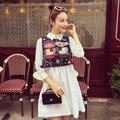 autumn outfit interesting fun pattern colour owl embroidery vest + turn down collar shirt dress