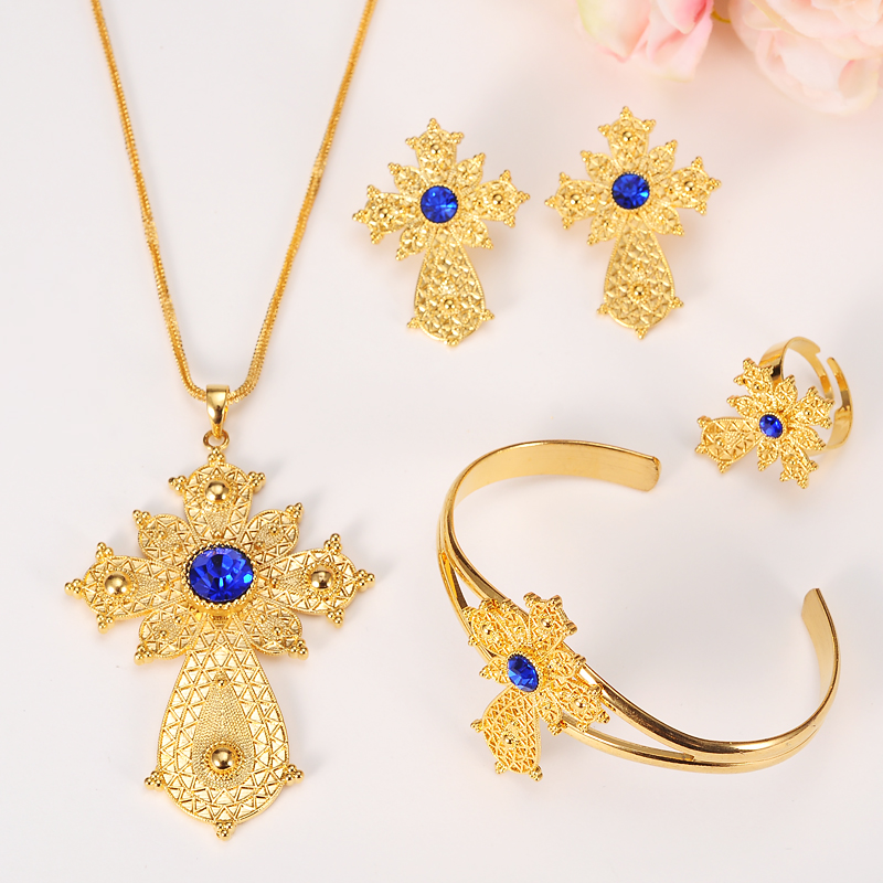 Ethiopian 24K gold color Cross Africa Indian bridal Jewelry Set
