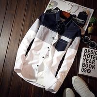 Plus Size 5xl 2017 Korean Men Plaid Shirts Pocket Design Long Sleeve Male Shirts Slim Fit