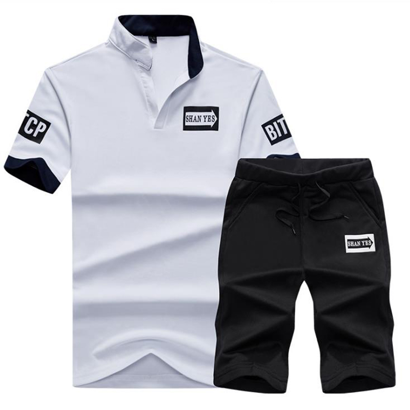 T Shirts + Shorts Summer Cotton Casual T-shirt Men Letter Printed Sportsuit Set Thin Suit Male Young Student Men Top M-4XL