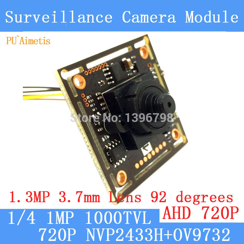 PU`Aimetis 4in1 1.0MP 1280*720P AHD CCTV 3.7mm Mini Camera Module Board, CMOS NVP2433H+OV9732 1000TVL camera PAL / NTSC Optional pu aimetis 4in1 1000tvl ahd cctv camera module 3mp 3 6mm lens pal or ntsc optional surveillance camera ir cut dual filter switch