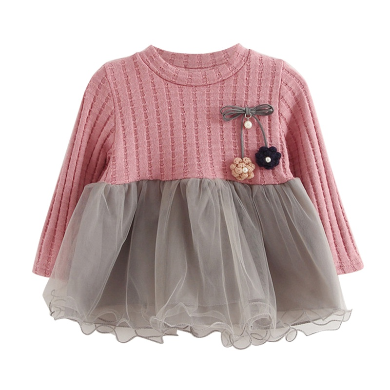 2017 New Arrival Spring Autumn Fashion Casual Baby Girl O-Neck Dress Long Sleeve with Flowers Dress