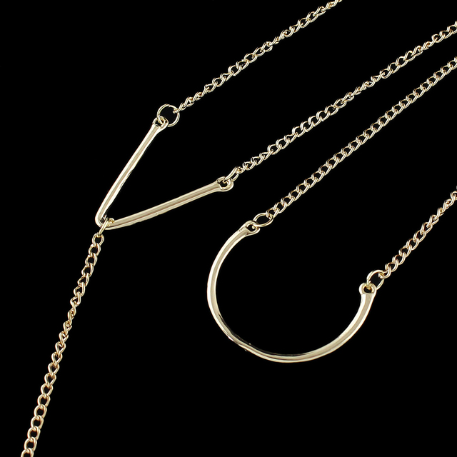 Simple body chain necklace. Gold color