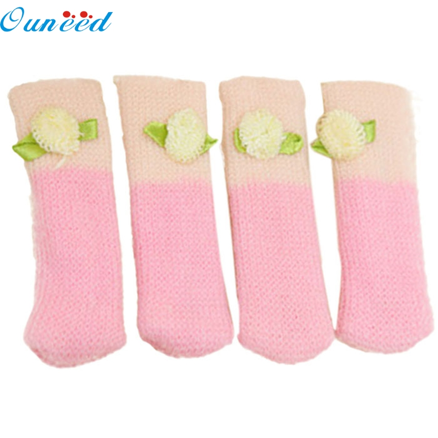 Ouneed lovely pet Lovely 4Pcs Chair Legs Table Foot Covers Floor Protectors Floral Kint Cover Hot oct105