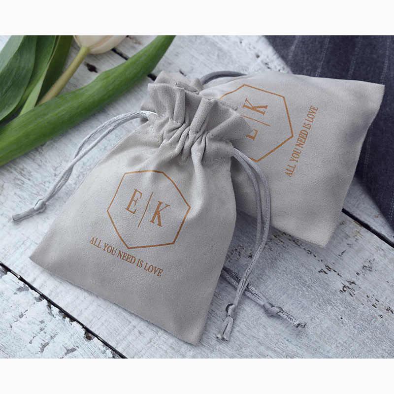 100 Pcs Abu-abu Flanel Jewelry Tas Katun Velvet Serut Pouches Kemasan Hadiah untuk Pernikahan Perjalanan Dapat Custom Logo