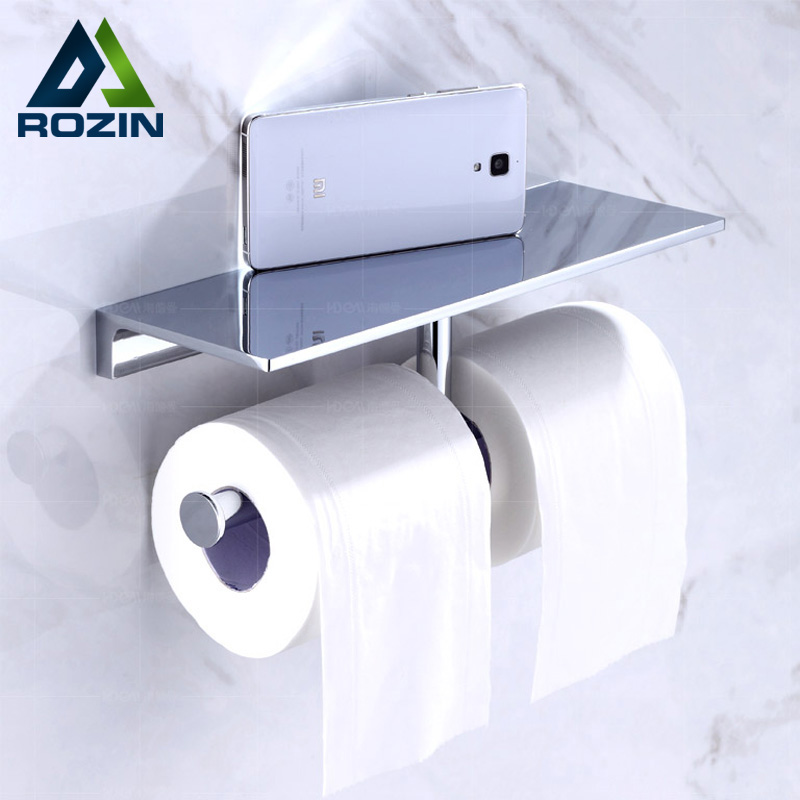Luxury Double Roll Toilet Paper Holder with Mobile Phone Holder Wall Mounted Brass Chrome Bathroom Shelf smesiteli promotions modern solid brass chrome bathroom paper holder accessories shelf wall mounted roll holder