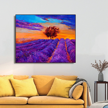 Purple Lavender Flowers Field DecorCanvas Painting Calligraphy Wall Pictures Modern Home Art Decor No Frame