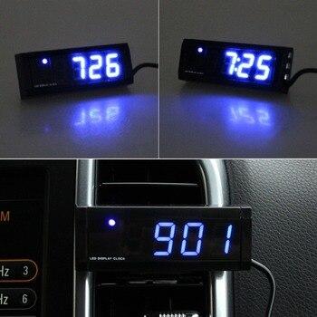 7d1c0fce5e37 Coche reloj electrónico termómetro del coche luminosa coche reloj  electrónico Mini portátil panel reloj accesorios de coche caliente