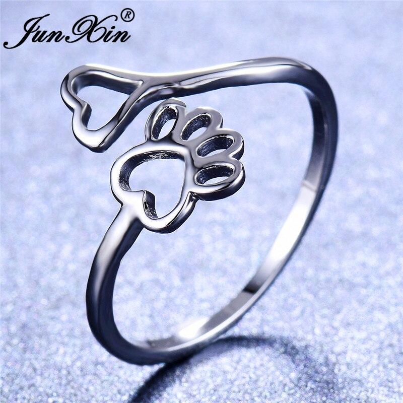 Schmuck & Zubehör Erfinderisch Junxin Cute Bear Hund Katze Paw Ringe Für Frauen 925 Sterling Silber Gefüllt Open Herz Dünne Ring Weibliche Tier Fußabdruck Schmuck