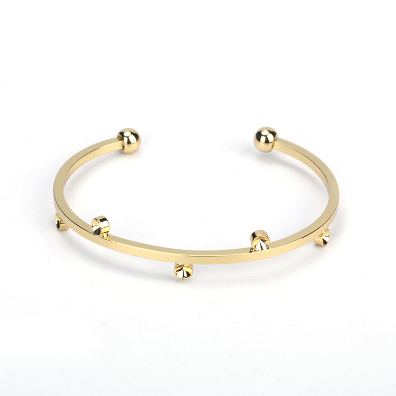 Minimalist Pure Gold Color Metal Ball Groove Charms Adjustable Bracelet Open Bangle Cuff Unisex for font