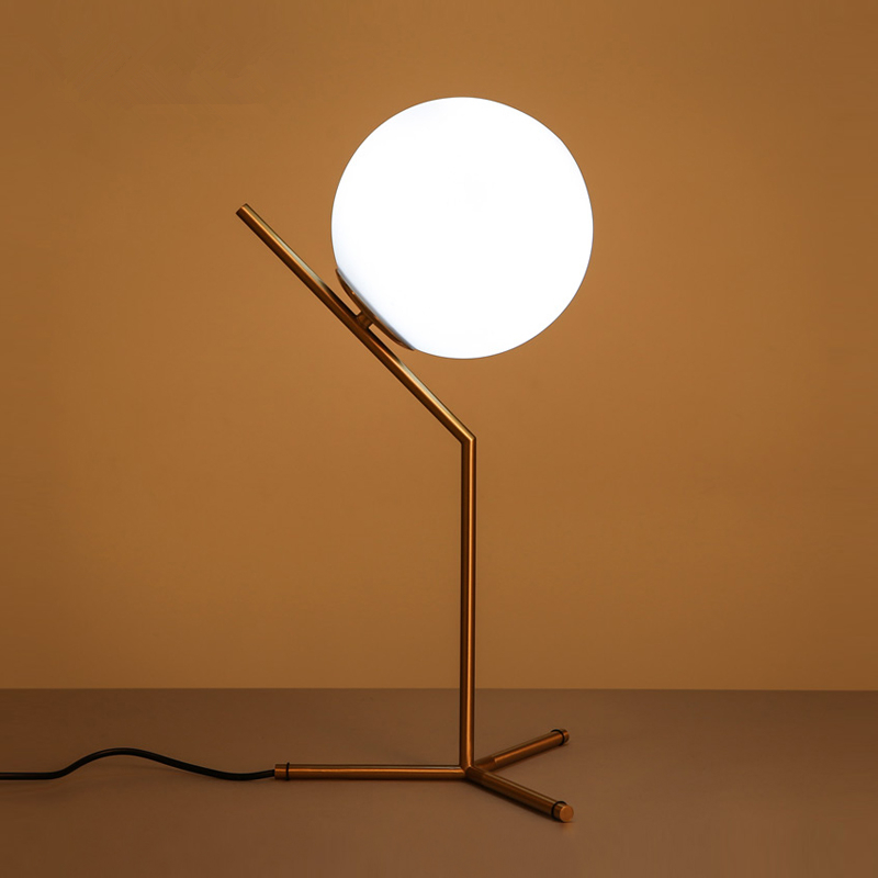 Nordic Dia 20cm White Gl Ball Table Lamp Gold Bedside Lamps E27 Led Desk Light For Bedroom Lamparas De Mesa Tafellamp In From
