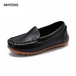 MHYONS 2018 موضة جديدة أحذية أطفال جميع حجم 21-30 الأطفال بولي PU أحذية رياضية من الجلد للطفل أحذية الفتيان/الفتيات قارب أحذية الانزلاق على لينة