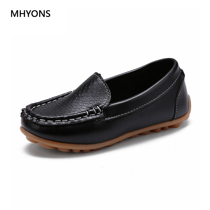 MHYONS 2018 Miúdos Novos sapatos Da Moda todo o Tamanho 21-30 Crianças PU Tênis de couro Para sapatos de Bebê Meninos/Meninas Sapatos de Barco Deslizamento Suave
