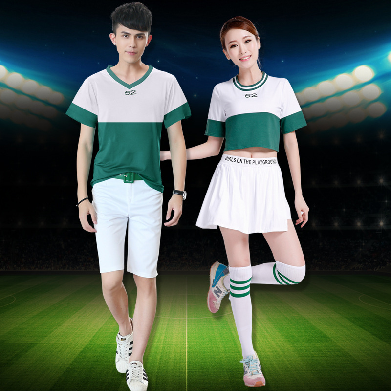 High School Cheer Musical Glee Cheerleader Costumes Outfit Top+Skirts Women Men Cheerleader Dress Cheer Uniforms Adults Party