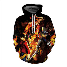 2017 sweatshirt Hoodies Men women Cool creative 3D print combustion One Piece fire hot Style Streetwear Long sleeve Clothes