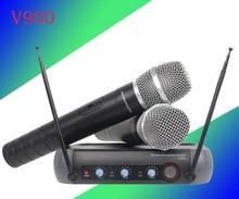 V900 high-end microfone sem fio um com Dois Remix características família KTV microfone sem fio profissional microfone