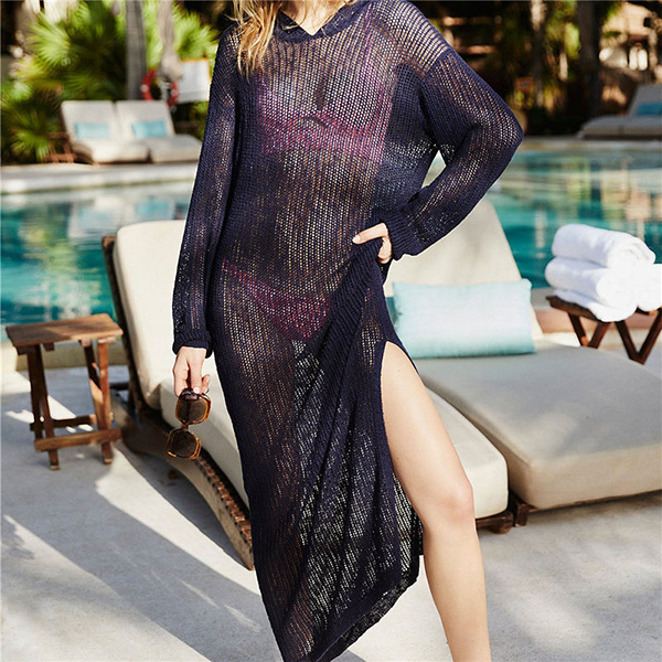 Full Length Mesh Crochet Beach Cover Up Dress 8