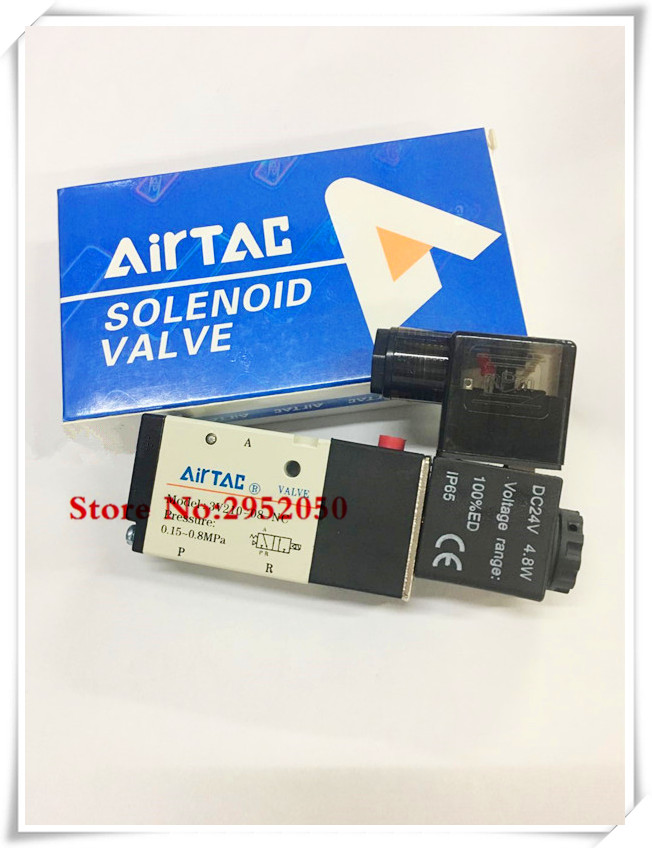 Free shipping 3 Port 2 POS 1/4 BSP Airtac Air Solenoid Valve 3V210-08 With LED Light Plug 12v 24v 110v 220v Optional free shipping solenoid valve with lead wire 3 way 1 8 pneumatic air solenoid control valve 3v110 06 voltage optional