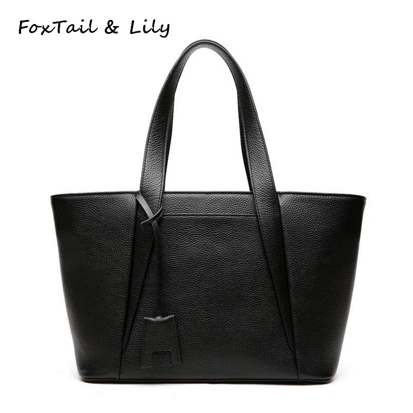 FoxTail & Lily Soft Genuine Leather Handbags Women Real Leather Tote Shoulder Bag Designer Female Crossbody Bags Simple Style 2017 new arrival designer women leather handbags vintage saddle bag real genuine leather bag for women brand tote bag with rivet