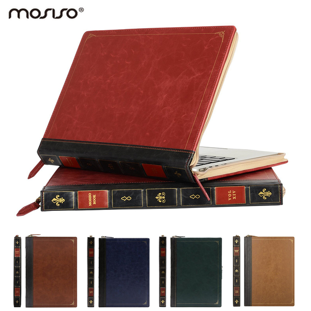 Mosiso Vintage Book PU Leather Cover Case for MacBook Pro 13 Retina Air 13 13.3 inch Luxury Protective Sleeve Accessories 2017