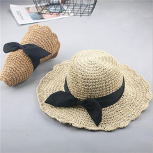 Good Quality Hand Hook Parent-child Straw Sun Hat Women Childrens New Bowknot Shade Sunscreen Foldable Beach