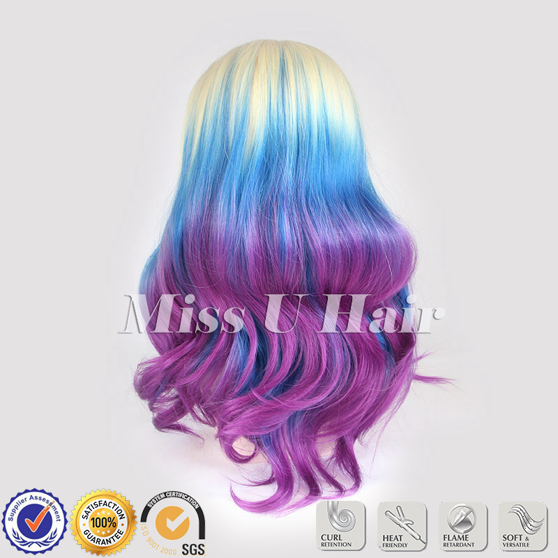 Ombre hairstyle blonde purple blue ombre hair synthetic lace front ombre hairstyle blonde purple blue ombre hair synthetic lace front wig with purple hair tips on aliexpress alibaba group pmusecretfo Images