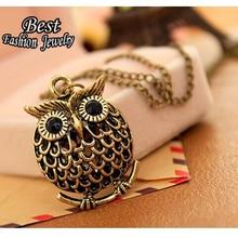 2016 New Design Wholesale Jewelry High Quality Cheap Vintage Antique Gold Colour Owl Pendant Necklace Women X168