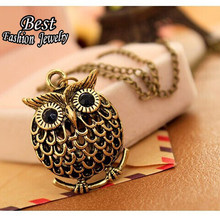 2016 New Design Wholesale Jewelry High Quality Cheap Vintage Antique Gold Colour Owl Pendant Necklace Women X168(China)