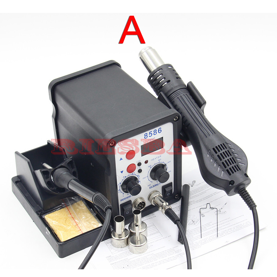 8586 700W ESD Soldering Station LED Digital Solder Iron Desoldering Station BGA Rework Solder Station Hot Air Gun Welder 220v dbl 858d hot air gun esd soldering station led digital desoldering station 700w heater gun upgrade from 858a