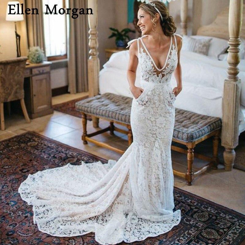 Sexy Bohemia Mermaid Wedding Dresses for Women 2019 Vestido De Noiva V Neck  Lace Summer Beach 6cc0b4392238