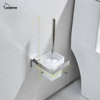 AUSWIND Contemporary 304 stainless steel Toilet brush holder Square base silver polish Punch or free Punch bathroom accessories