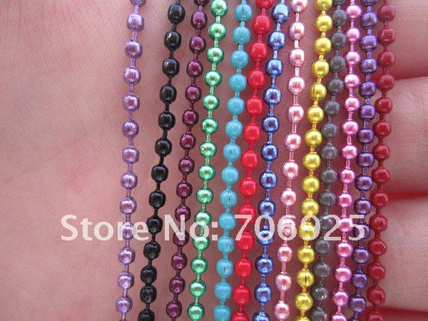 Free shipping Wholesale Colorful chain 2.4mm 27inch Mixed color (13 color)ball necklace chain with  connector 100pcslot