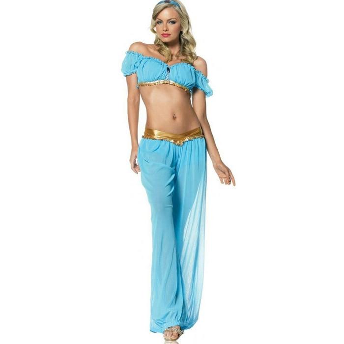 Top Quality 2015 Arabian Princess Jasmine Aladdin Costume Adult Women Halloween Cosplay Sexy Belly Dance Dress Plus Size S-XXL Принцесса Жасмин