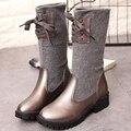 Caliente Elegante Señora de Las Mujeres de Moda de Lujo de Invierno Med Botas Altas tejer Slip On Largo bottine Botas Altas Tacones Gruesos Zapatos de Arranque G460