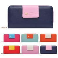 Women Long Fashion Zipper Fly Clasp Color Collision Coin Purse Card Holder Bag