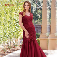 Burgundy Lace Mother of the Bride Dresses Mermaid Brides Mother Dresses for Weddings Groom Godmother Evening Dinner Gowns 2019