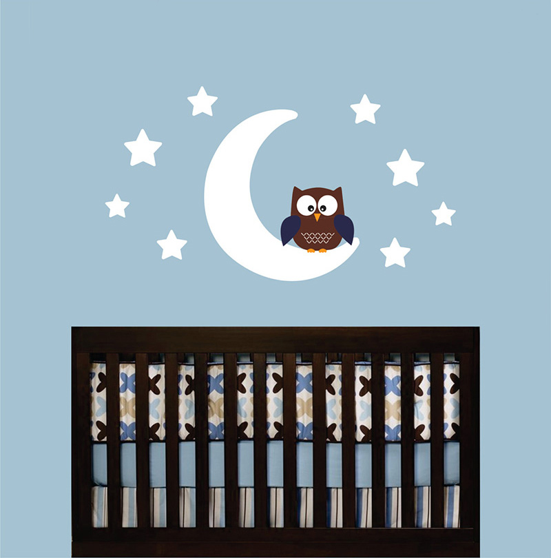 Owl Moon Stars Wall Decal Sticker Mural Wallpaper Children